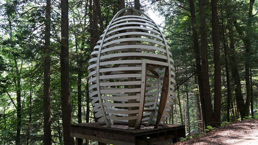 Egg Building Height: 11' 9; Diameter: 5' 9 1/2 Hemlock wood and building materials.