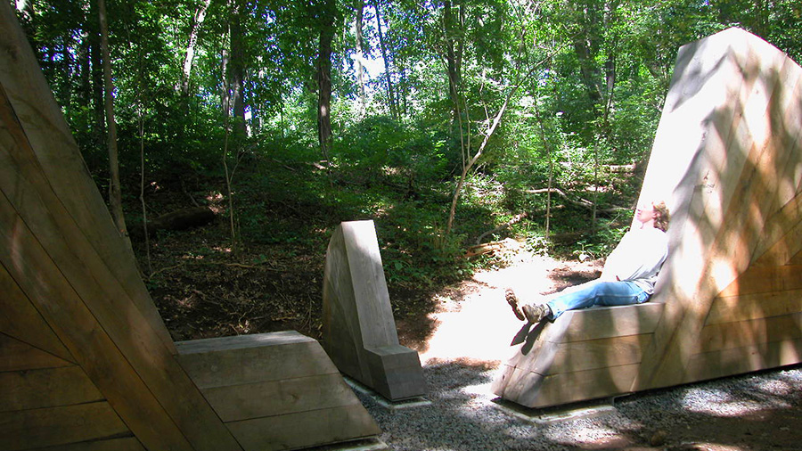Benches, 2003, Philadelphia, PA. Wood and Copper Height: 12' 8; Width: 9' 4; Depth: 2' 1