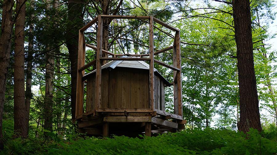 Nest Building Height: 12' 1 Diameter: 11' Hemlock wood and building materials.