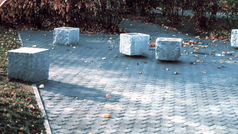 Floating Stones, 1992 Granite with elastomer inserts, plantings (River Birch, Pin Oaks, Red Twig Dogwood, Fragrant Sumac, Day Lilies), pavers, gravel. Eleven 3' sq. blocks, 1800 sq. foot area.